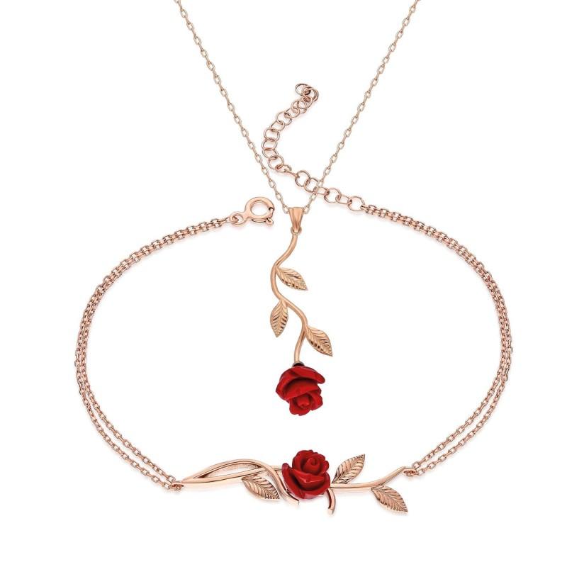 925 Ayar Gümüş Zirkon Taşlı Gül Tasarım Kolye Bileklik Seti Rose