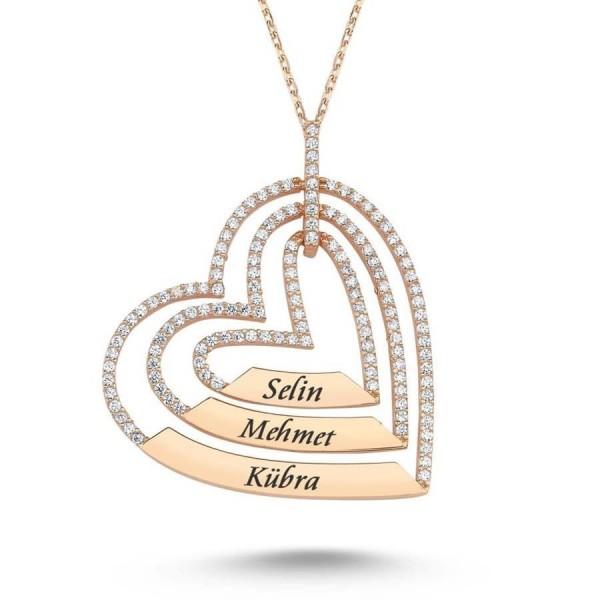 925 Ayar Gümüş Zirkon Taşlı İsme Kişiye Özel Üç Kalpli Kolye