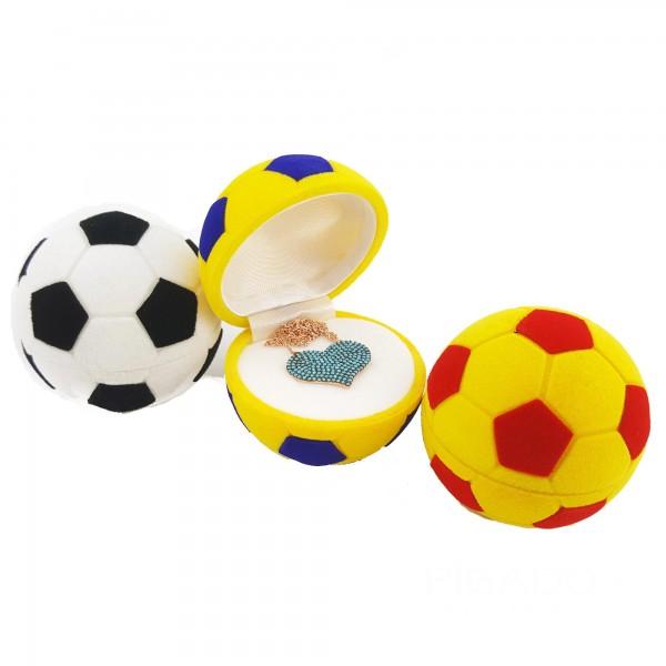 925 Ayar Gümüş Zirkon Taşlı Kadife Futbol Topu Kutusunda Kalpli Kolye