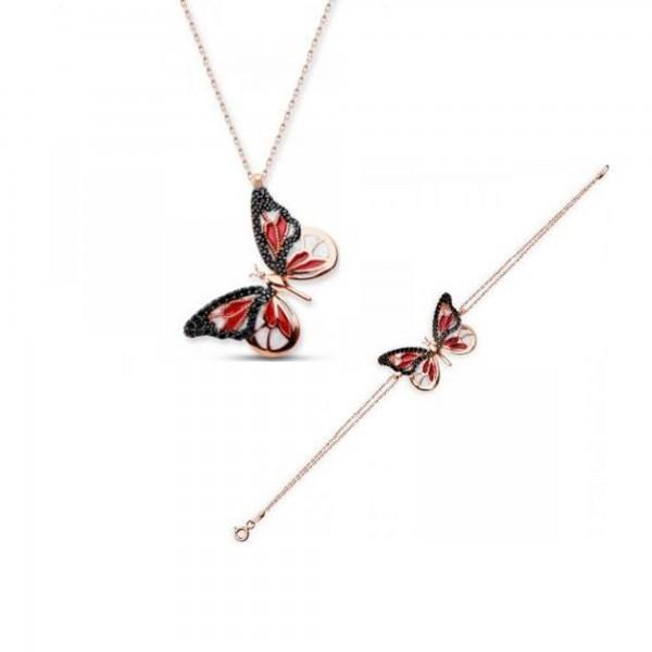 925 Ayar Gümüş Zirkon Taşlı Kırmızı Kelebek Kolye & Bileklik Seti