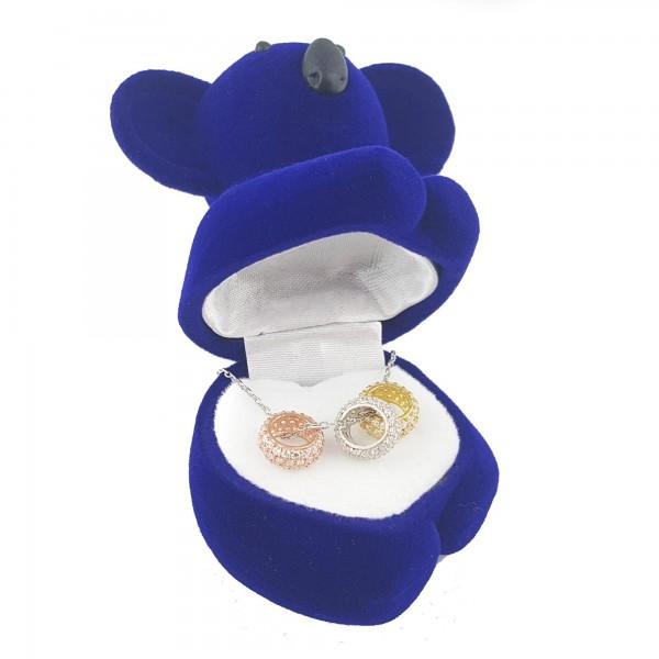 925 Ayar Gümüş Zirkon Taşlı Koala Kutusunda Üç Renk Halka Kolye