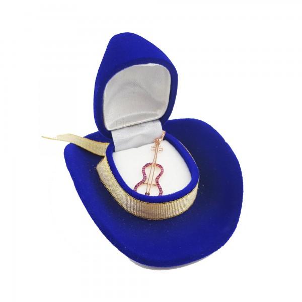 925 Ayar Gümüş Zirkon Taşlı Kovboy Şapka Kutusunda Keman Kolye