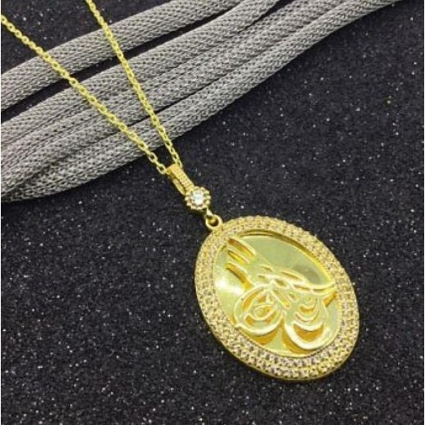 925 Ayar Gümüş Zirkon Taşlı Tuğralı Madalyon Kolye