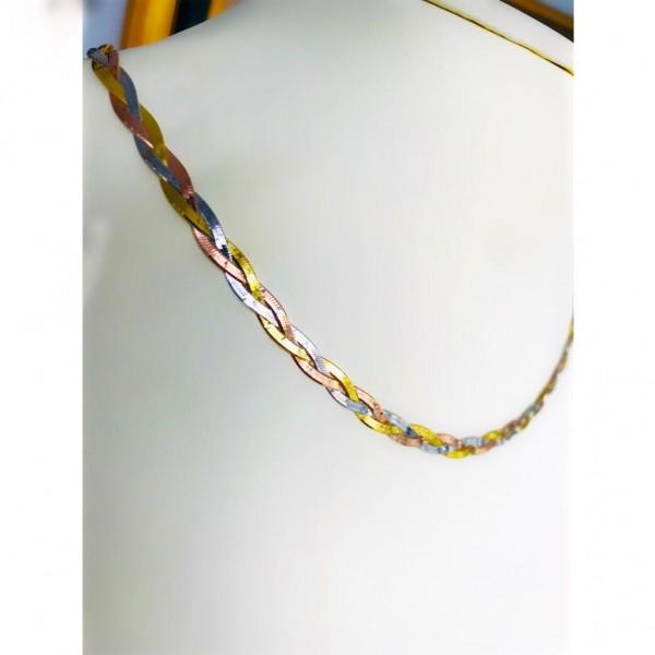 925 Ayar italyan Gümüş Üç Renk Örgü Model Zincir Kolye