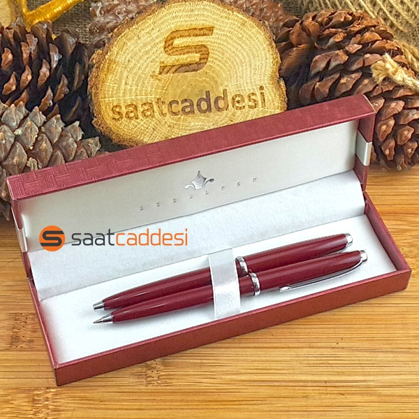 Steel Pen 2 li Kalem Seti Bordo - Babalar Günü Özel
