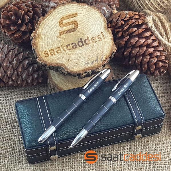 Steel Pen İsme Özel 2 li Desenli Metal Kalem Seti