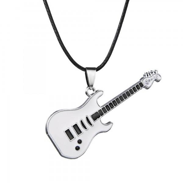 Beyaz Elektro Gitar Tasarımlı Metal Kolye