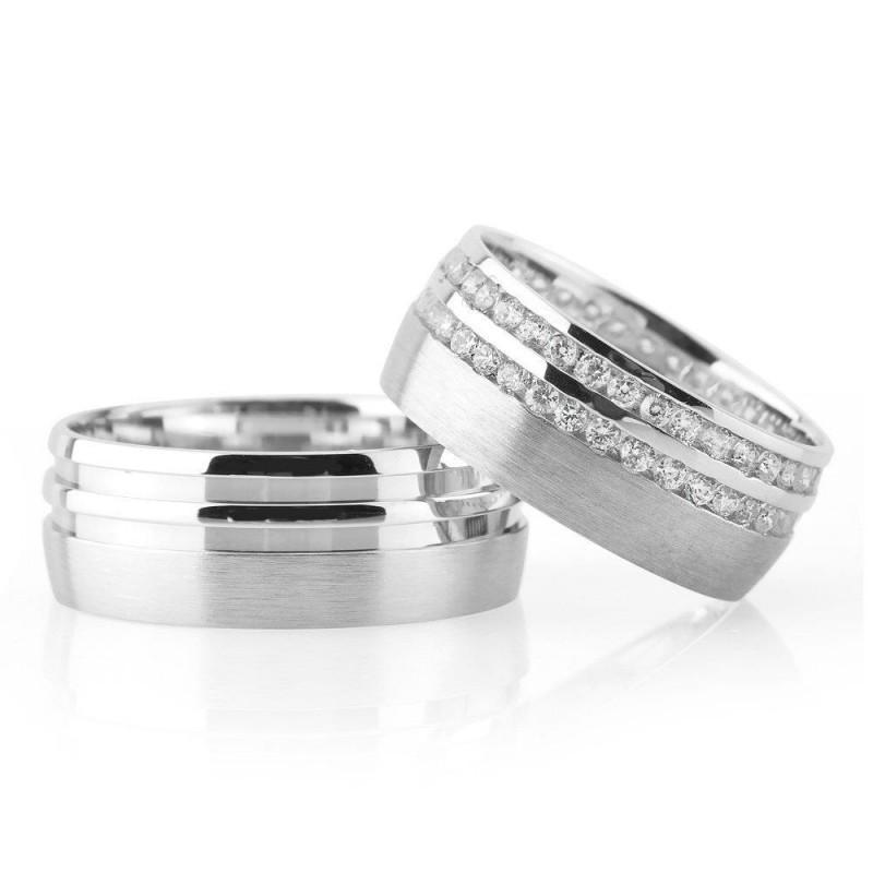 Çift Asimetrik Şerit Tasarım Gri Renk 925 Ayar Gümüş Çift Alyans