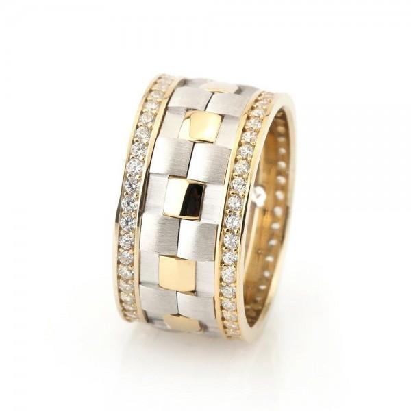 Damalı Tasarım Zirkon Taş İşlemeli Gold Renk 925 Ayar Gümüş...