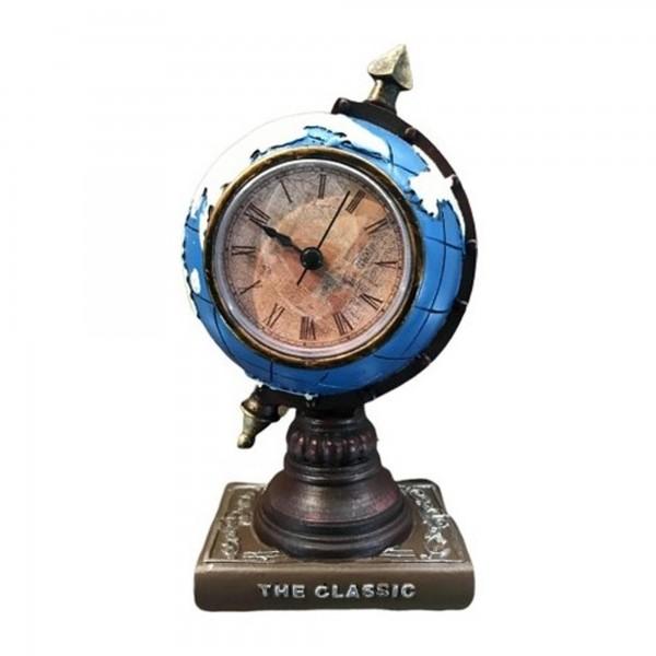 Dünya Şeklinde Dekoratif Masa Saati Biblo Kumbara