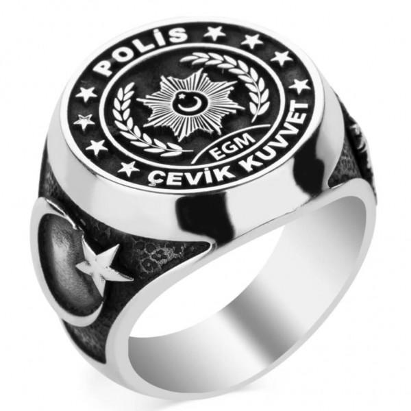 Gümüş EGM Polis Çevik Kuvvet Erkek Yüzüğü