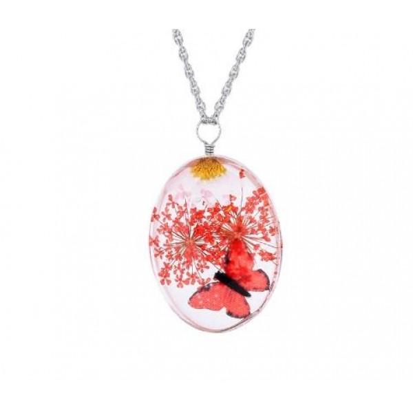 El Yapımı Kırmızı Kurutulmuş Kelebek ve Çiçek Desenli Kolye