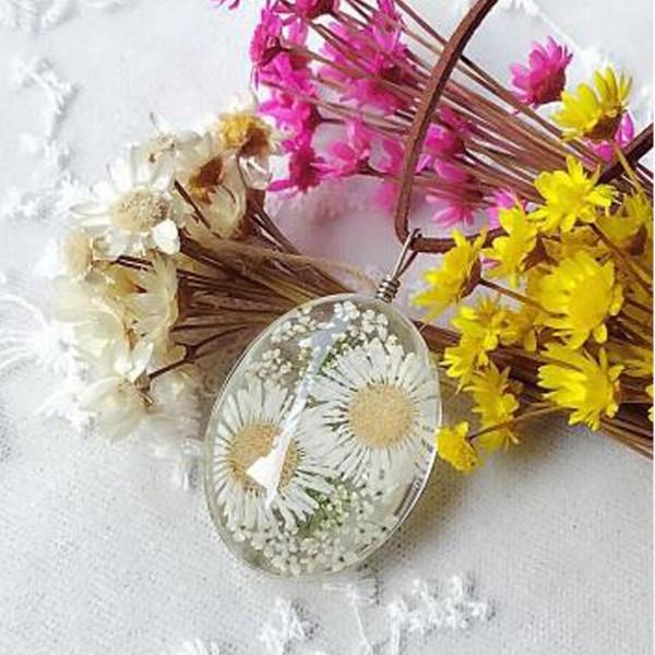 El Yapımı Kurutulmuş Çiçek Papatya Kolye