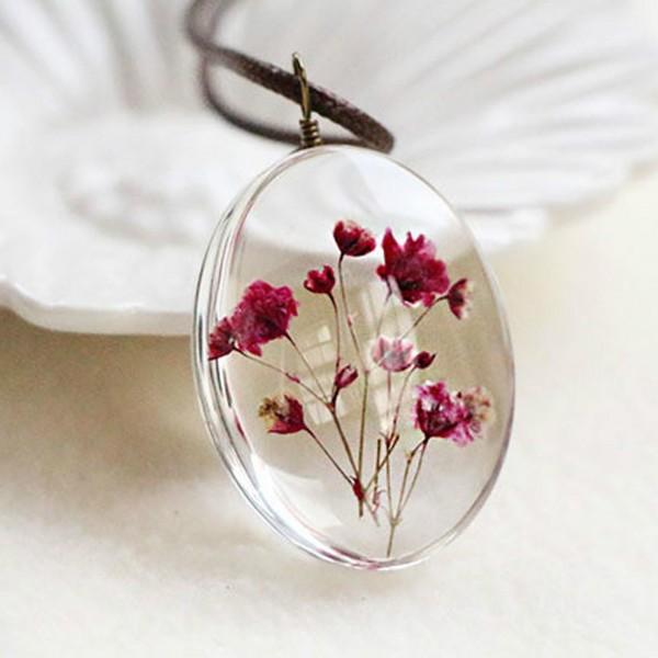 El Yapımı Kurutulmuş Gerçek Çiçek Tasarım Kolye