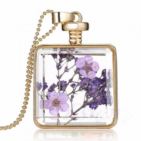 Gerçek Kurutulmuş Çiçek Tasarım Bayan Kolye