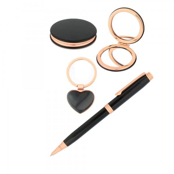 Gold Siyah Tasarım Yeni İş Hediyesi Kalem Ayna Anahtarlık Seti