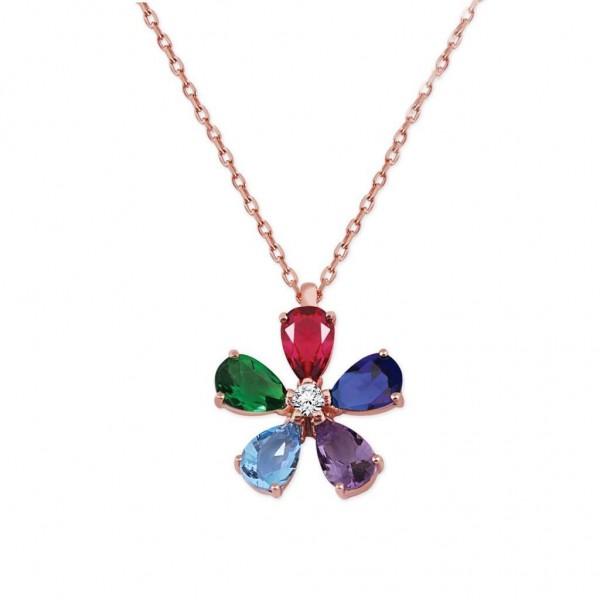Gümüş 5 Renkli Çiçek Kolye Sevgiliye Özel Hediye