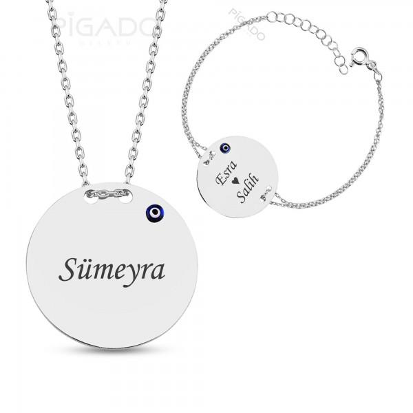 İsim Yazılı Gümüş Nazar Boncuklu Plaka Kolye Bileklik Seti