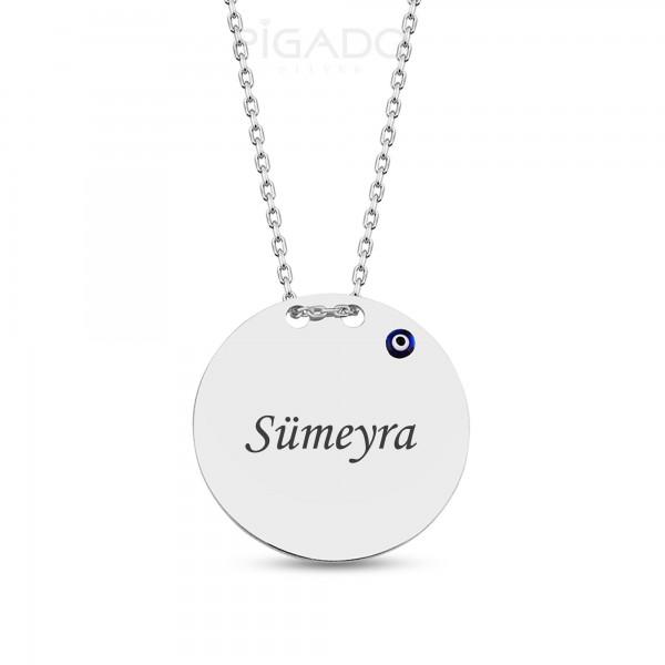 İsim Yazılı Gümüş Nazar Boncuklu Plaka Kolye (Rodyum Kaplama)