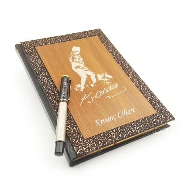 İsme Kişiye Özel Atatürk Temalı Ahşap Kapaklı Defter Kalem Seti