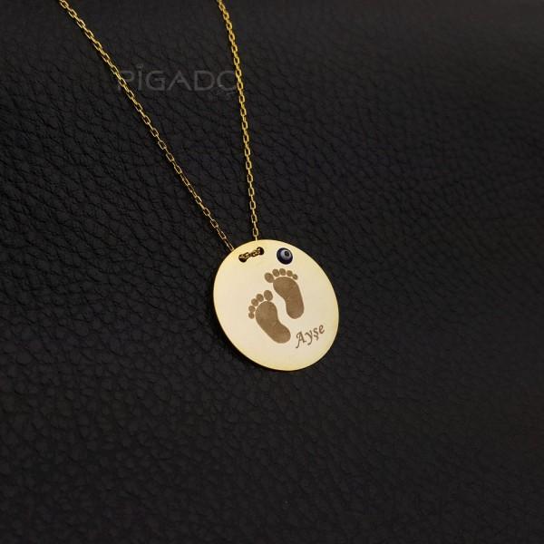 İsme Kişiye Özel 925 Ayar Gümüş Baby Love Kolye Altınsarısı