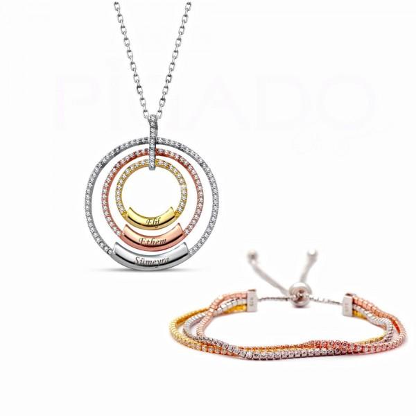 İsme Kişiye Özel 925 Ayar Gümüş Üç Renk Kolye Bileklik Seti