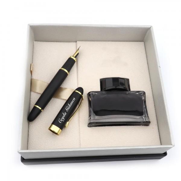 İsme Kişiye Özel Mat Siyah Dolma Kalem + Mürekkep Seti