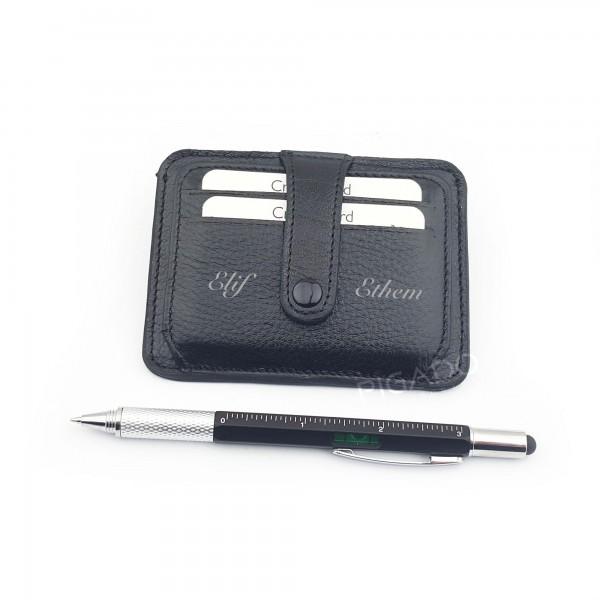 İsme Kişiye Özel Deri Kartlık ve 6 Fonksiyonlu Kalem Seti