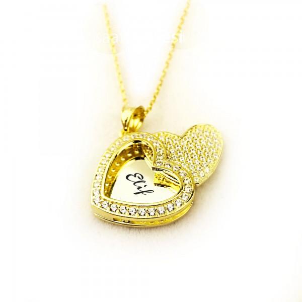 İsme Kişiye Özel Kalpteki Sır Altın sarısı Gümüş Kolye
