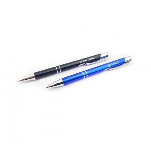 İsme Kişiye Özel 2'li Mavi&Siyah Tükenmez Kalem Yılbaşı Hediyesi
