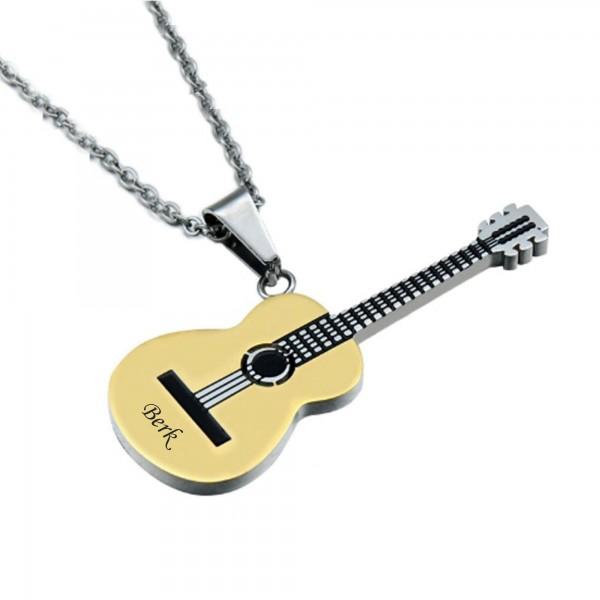 İsme Kişiye Özel Paslanmaz Çelik Gitar Kolye