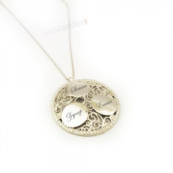 İsme Kişiye Özel Üç İsim Yazılı Yuvarlak Gümüş Kolye