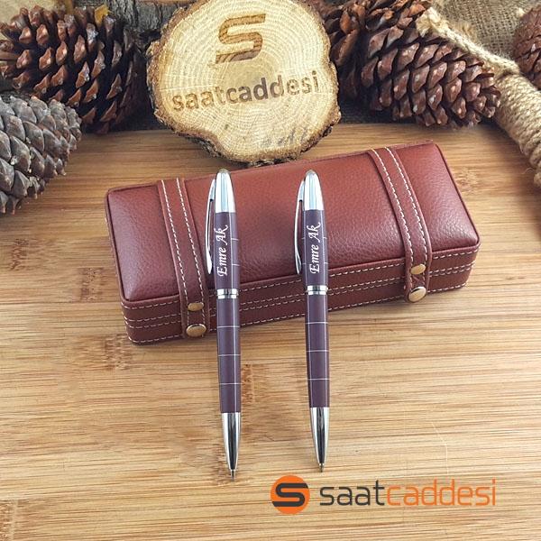 İsme Özel Steel Pen 2 li Kalem Seti Desenli Kahverengi