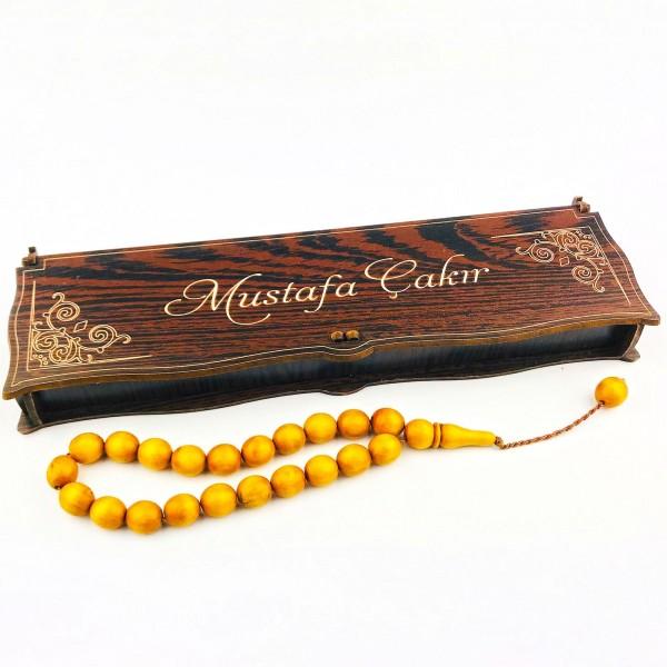 İsme Özel Kutusunda 21 ' li Doğal Şimşir Sarı Tesbih Tespih