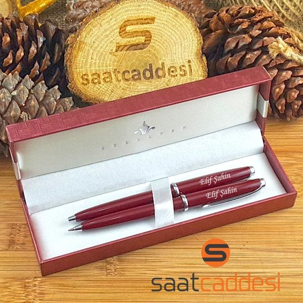 İsme Özel Steel Pen 2 li Kalem Seti Bordo Babalar Günü Özel