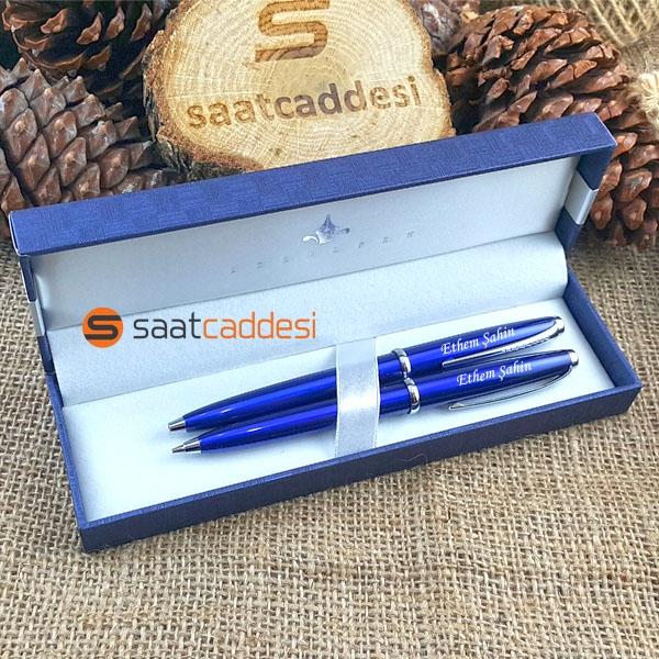 İsme Özel Steel Pen 2 li Kalem Seti Mavi Babalar Günü Özel