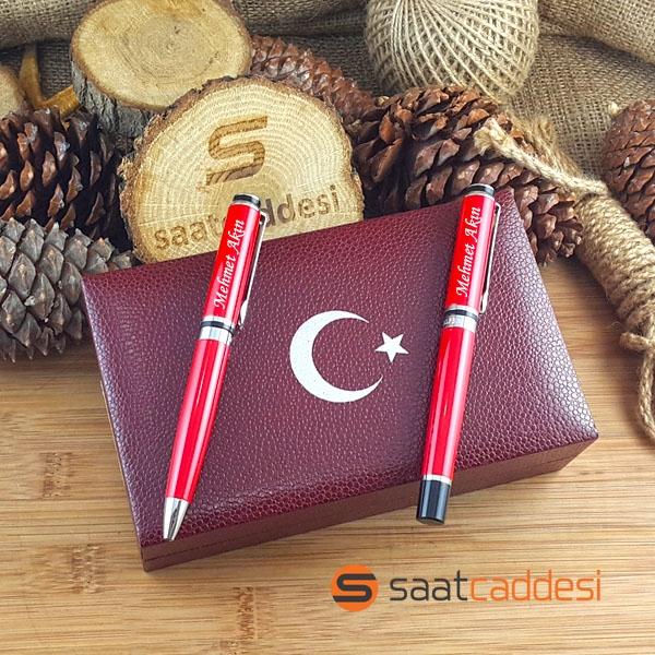 İsme Özel Steel Pen 2 li Kırmızı Ay Yıldız Kalem Seti
