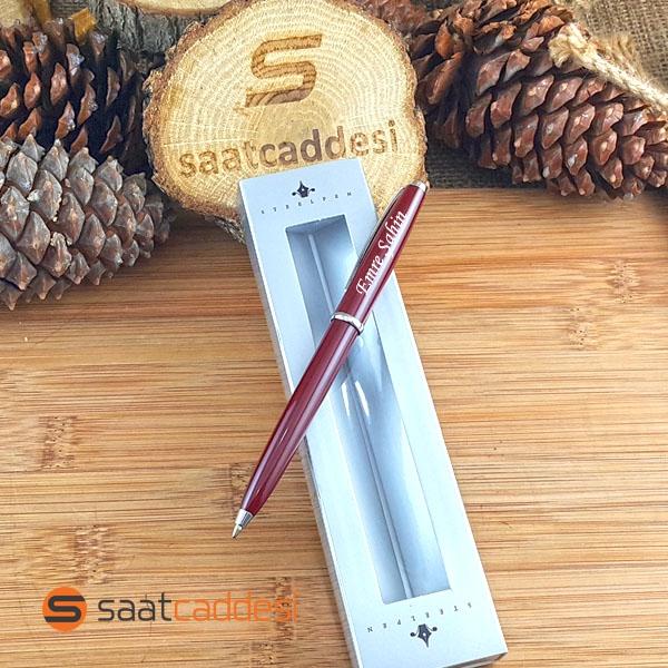 İsme Özel Steel Pen Bordo Tükenmez Kalem