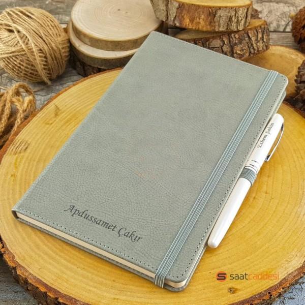 İsme Özel Termo Deri Defter Gri + İsme Özel Kalem Seti