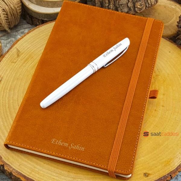 İsme Özel Termo Deri Defter Kahverengi + İsme Özel Kalem Seti