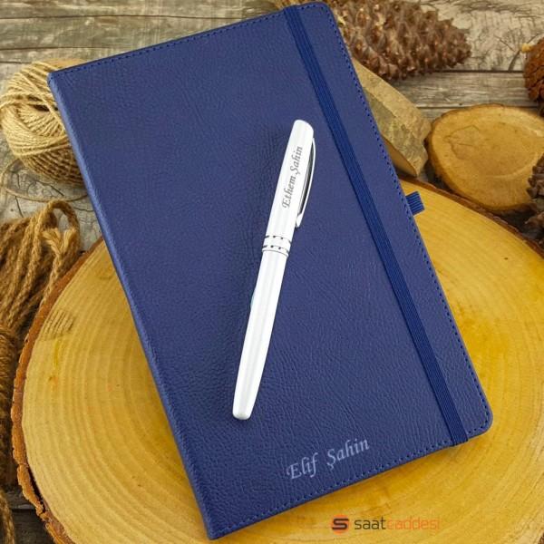 İsme Özel Termo Deri Defter Lacivert + İsme Özel Kalem Seti