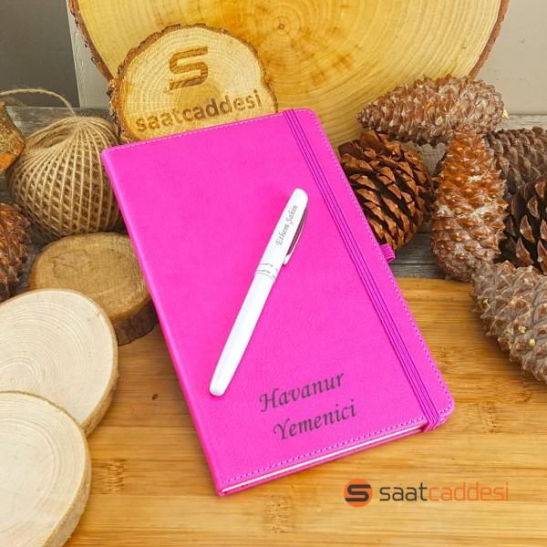 İsme Özel Termo Deri Defter Pembe + İsme Özel Kalem Seti