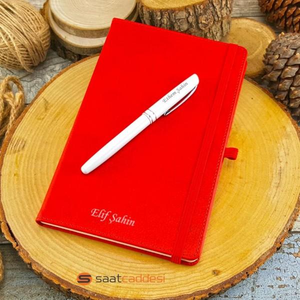 İsme Özel Termo Deri Kırmızı Defter Roller Kalem Set