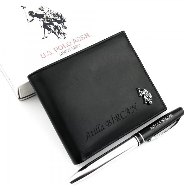İsme Özel U.S. Polo Hakiki Deri Erkek Cüzdanı + Kalem HEDİYEL�...