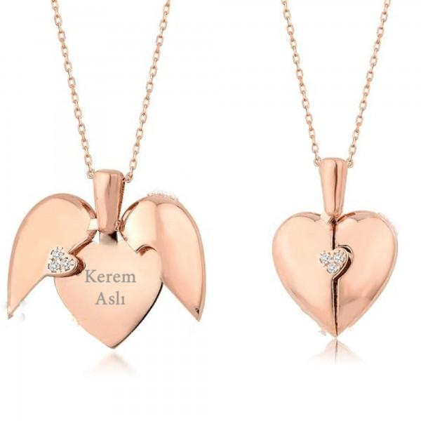 Kalbimdeki Sır İsim Yazılı Taşlı Kalp Gümüş Kolye Açılır Kapanır