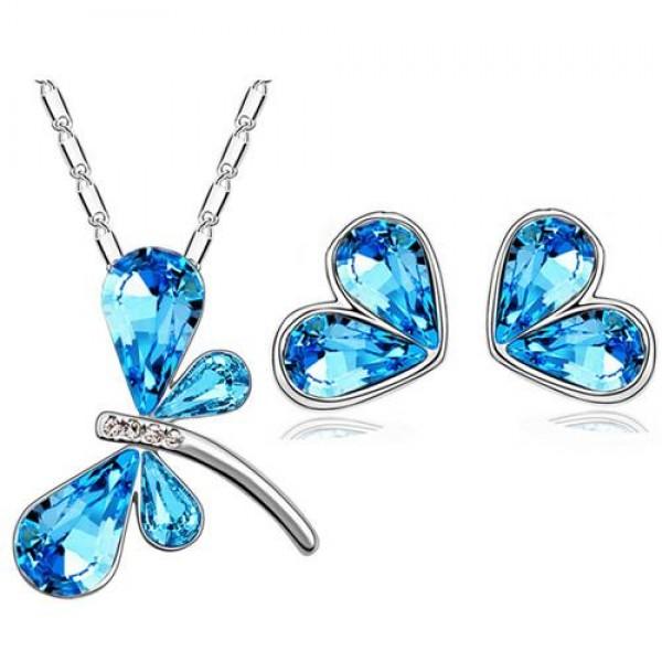 Kristal Taşlı Mavi Yusufçuk Kolye Küpe Seti