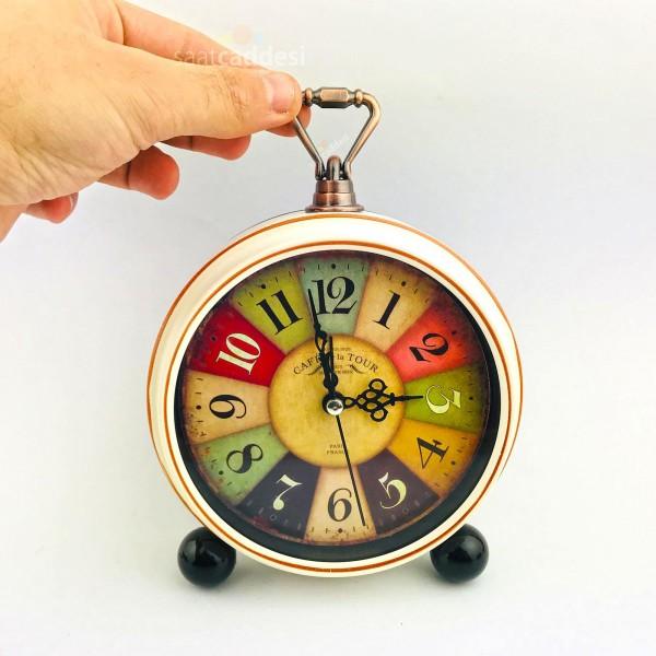 Krem Renk Ahşap Görünümlü Alarmlı Masa Saati