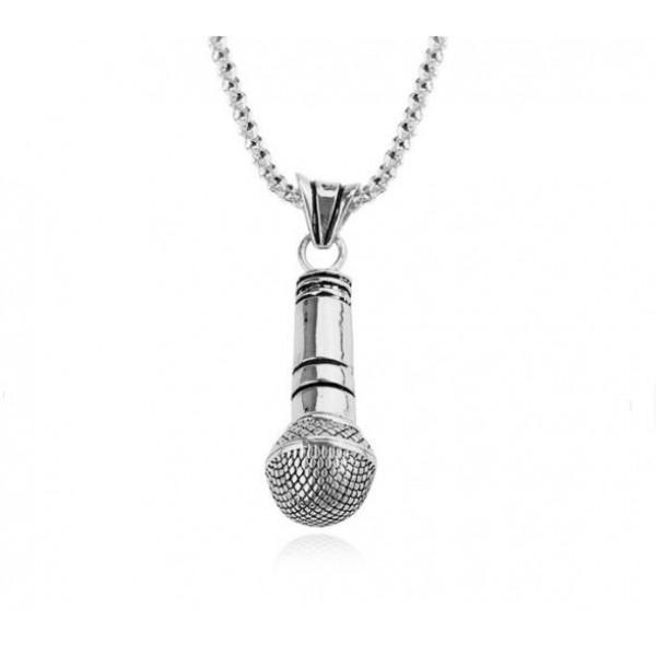 Metal Mikrofon Erkek Takı Kolye