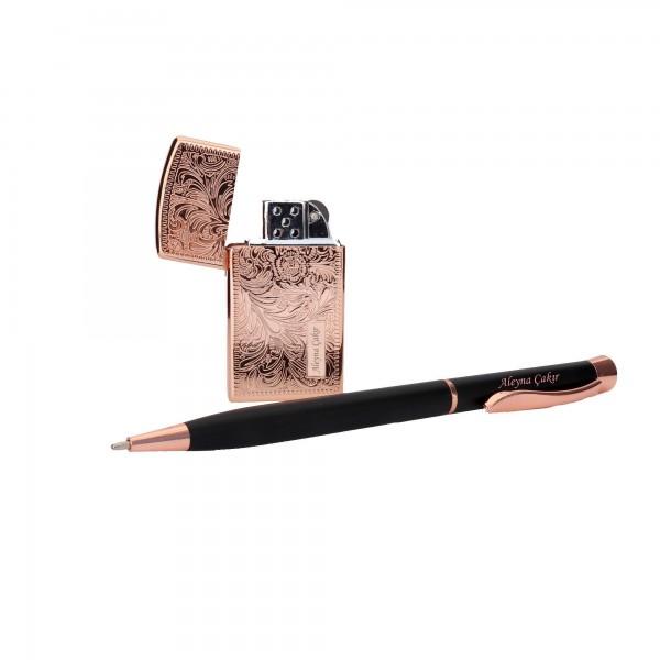 İsme Kişiye Özel Desenli Çakmak Kalem Seti Bakır Renk