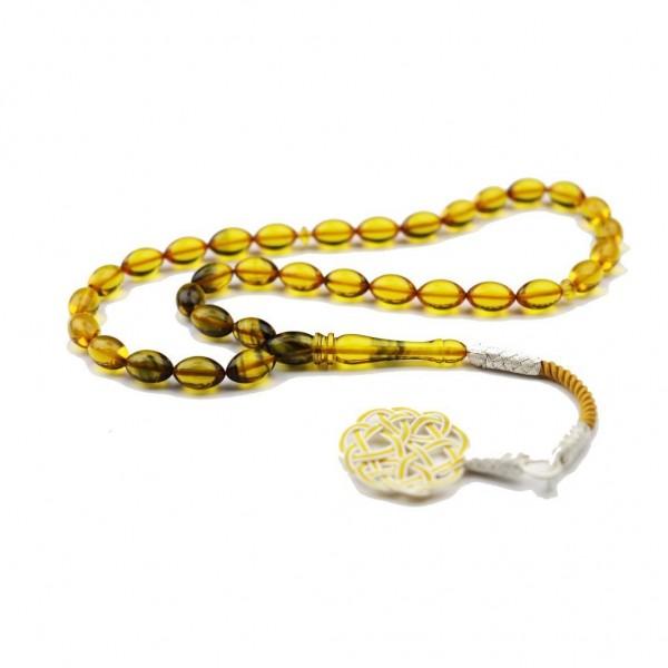 Pigado 1000 Ayar Gümüş Kazaz Püsküllü Sarı Hareli Kehribar Tesbih